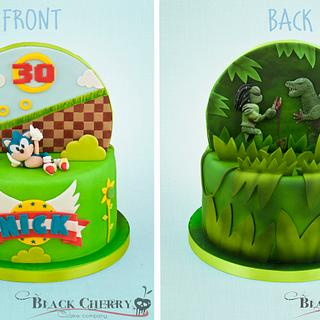 Double Sided Cake Sonic, and Predator vs Godzilla