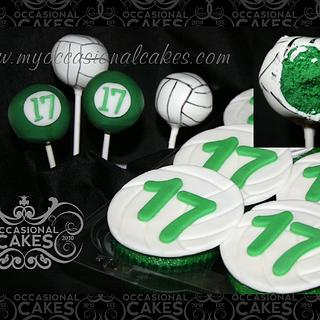 Volleyball themed pops and cupcakes