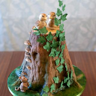 Tree stump sculpted wedding cake - Cake by Kasserina Cakes
