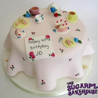 Mismatched Shabby Chic Style Tea Party Cake