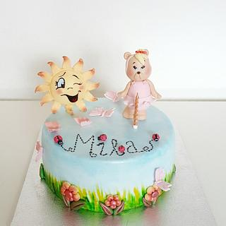 Happy sun and teddy cake