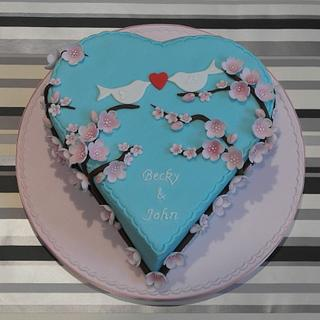 Blossom engagement cake