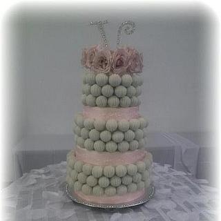 Pink and White Cake Bite Cake