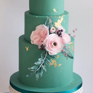 Wedding cake in eucalyptus