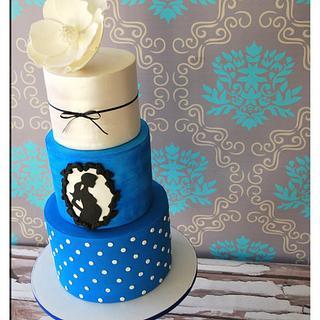 Magnolia, silhouette baby shower cake