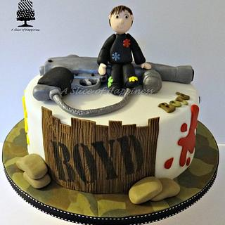 Paint Ball Cake & Cupcakes
