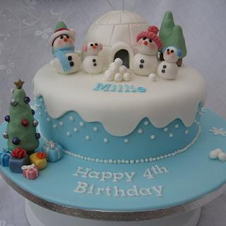 Cute Snowmen and Igloo Cake
