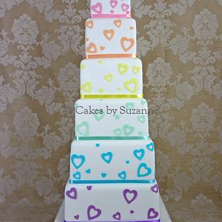 Pastel Rainbow Hearts Wedding Cake - Cake by suzanne