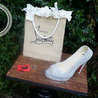 Louboutin Gift Bag & Shoe Cake