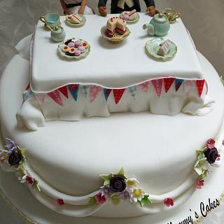 Lion and prairie dog afternoon tea wedding cake