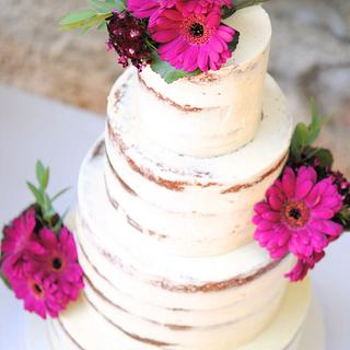 Gerbera Naked Wedding Cake by Mericakes
