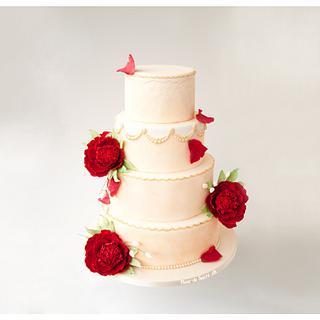 Romantic peony cake - Cake by Fleur de Sucre