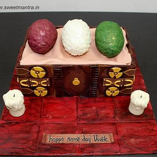 Game of Thrones Dragon eggs box shaped 3D fondant cake