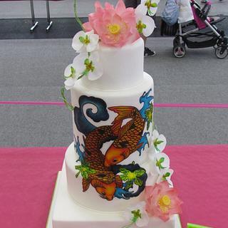 koi fish wedding cake