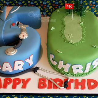 50th birthday cake for twins in nurse and golf theme...