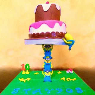 Minions gravity cake