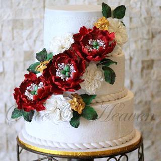 Beauteous Peony Engagement Cake