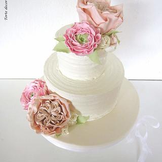 English Rose and Ranunculus