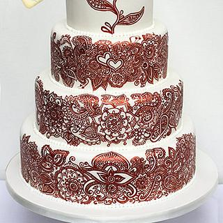 Mehndi / henna tattoo inspired wedding cake