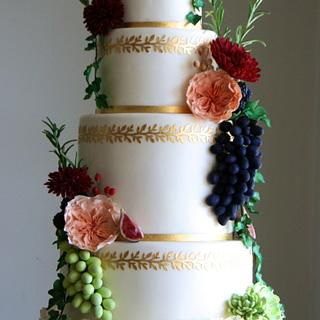 Gold Fruit & Flower Cake - Cake by Sada Ray