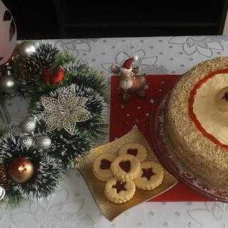 Walnut biscuit cake