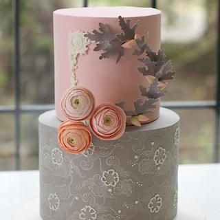 Grey Pink Ranunculus Cake
