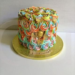 Coconut Rainbow - Cake by Que's Cakes