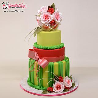 Colorful Pomander Wedding Cake