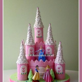 Castle Cake two tier with disney princessess