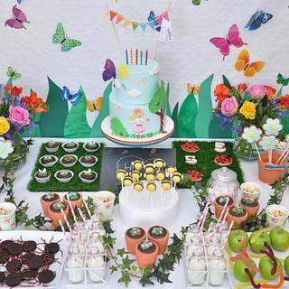Garden birthday dessert table