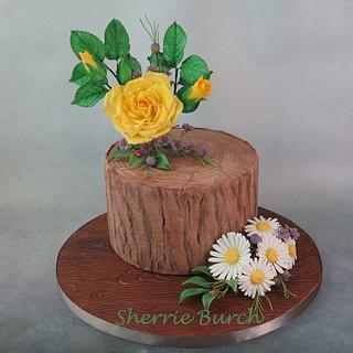 yellow rose and daisies stump cake MBalaska - Cake by MBalaska