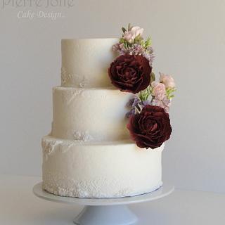 Wine  Sugar Peonies White Wedding Cake