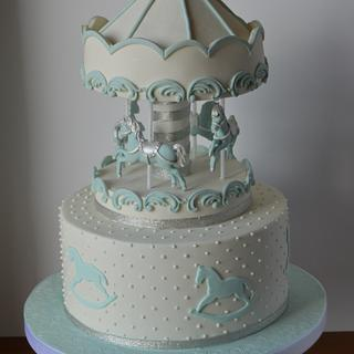 Blue and white carousel cake