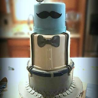 Mustache Baby Shower  - Cake by Sandra Smiley