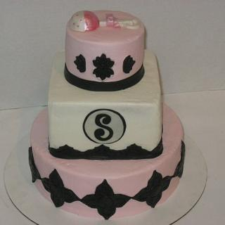 Pink and Black Baby shower - Cake by Tina