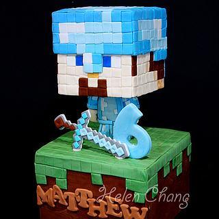Minecraft Diamond Steve Cake Topper - Cake by Helen Chang