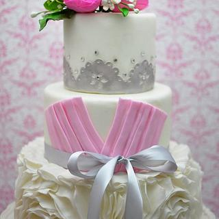 Romantic Ruffle Wedding Cake