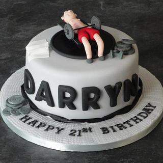 weight lifter gym birthday cake