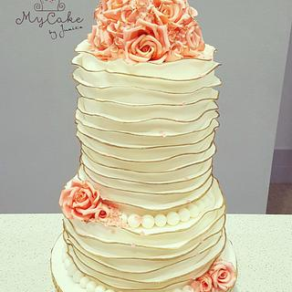 Ruffle rose gold vintage wedding cake