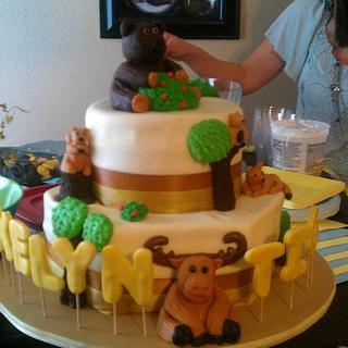 Forest animals baby shower cake!