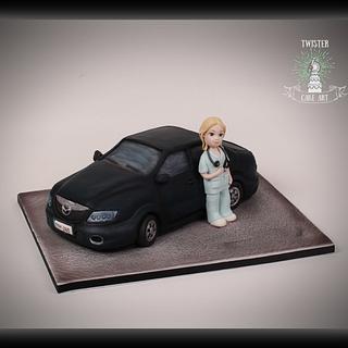 Nurse and Mazda 6 cake