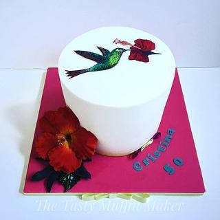 Hummingbird and Hibiscus cake