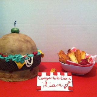 Burger and Fries - Cake by Maureen