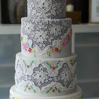 Cake inspired by Vintage Lace and Embroidery