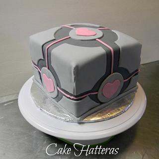 Companion Cube - Cake by Donna Tokazowski- Cake Hatteras, Hatteras N.C.