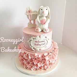 Bunny and Stroller Baby Shower Cake