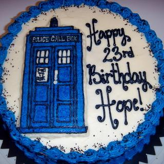 Dr. Who Tardis Cake - Buttercream Transfer - Cake by Amy