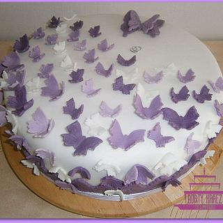 Wedding cake with butterlies