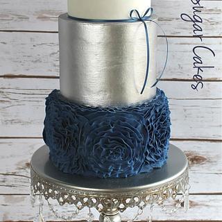 Navy blue ruffle rose - Cake by Nichole Stiglich Cake Design