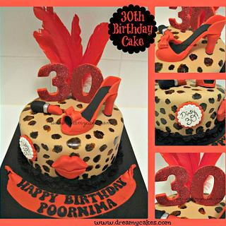 30th Birthday Leopard Print Cake